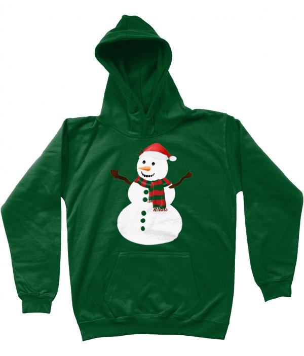 Snowman Kids Hoodie Bottle Green