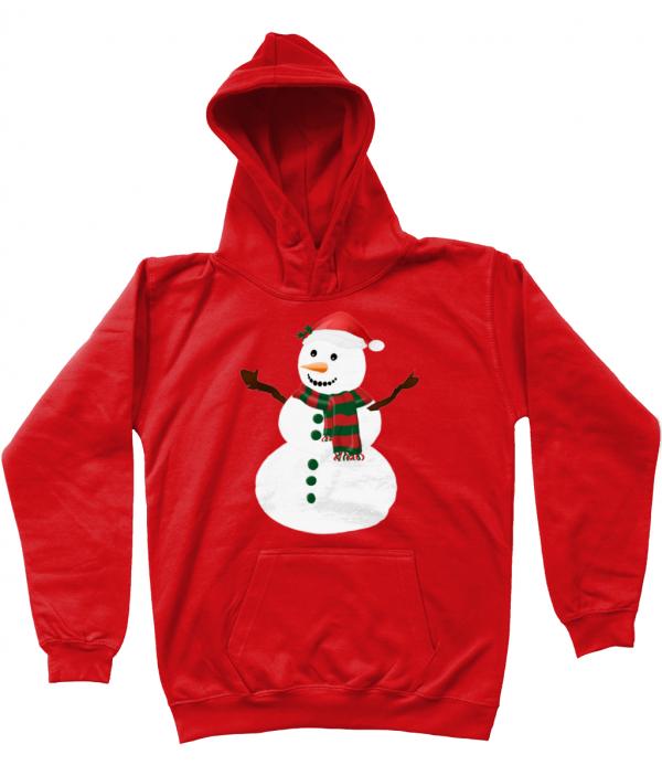Snowman Kids Hoodie Fire Red