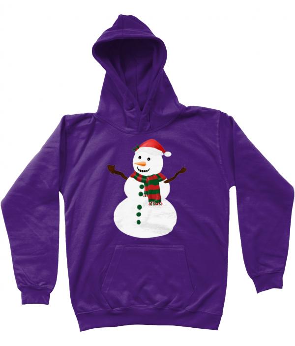 Snowman Kids Hoodie Purple