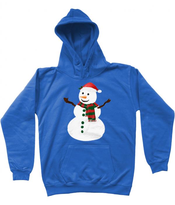 Snowman Kids Hoodie Royal
