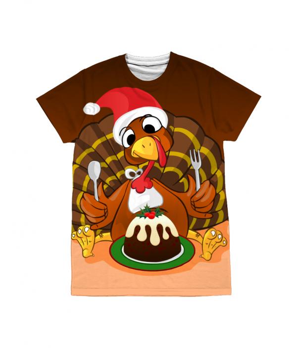 Christmas Turkey T-Shirt - All Over Print